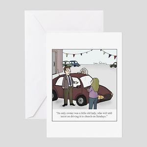 Used Car Salesman Old Lady Greeting Card