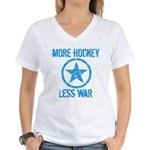 More Hockey Less War Women's V-Neck T-Shirt