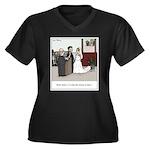 Married Doze Women's Plus Size V-Neck Dark T-Shirt