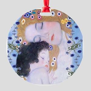 Gustav Klimt Mother & Child Shoppin Round Ornament