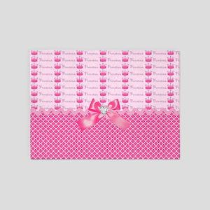 Fancy Pink Princess Crowns 5'x7'Area Rug