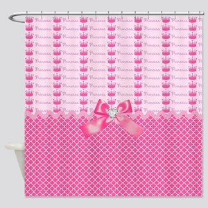 Fancy Pink Princess Crowns Shower Curtain