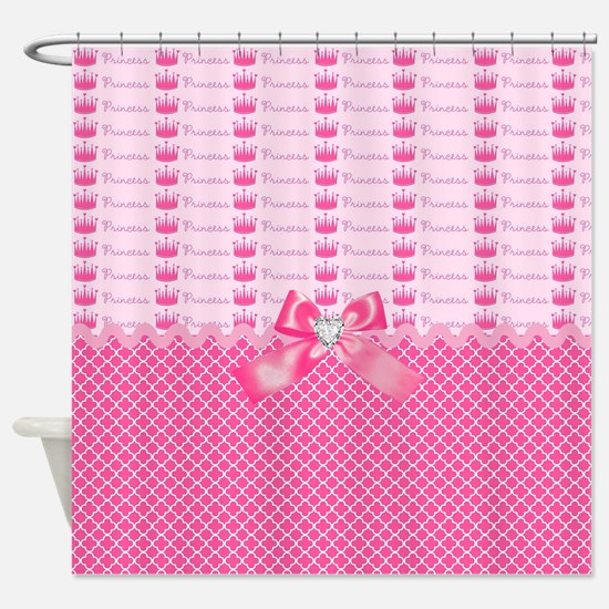 Fancy Pink Princess Crowns Shower Curtain