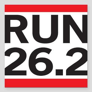 "Run 26.2 Square Car Magnet 3"" x 3"""