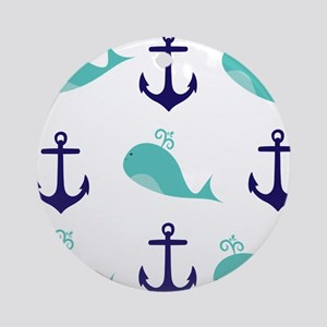 Whales and Anchors Ornament (Round)