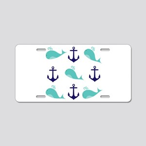 Whales and Anchors Aluminum License Plate