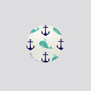 Whales and Anchors Mini Button