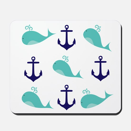 Whales and Anchors Mousepad