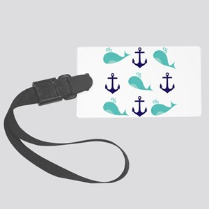 Whales and Anchors Luggage Tag