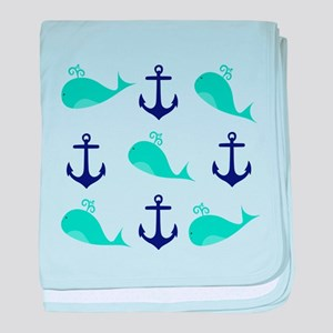 Whales and Anchors baby blanket