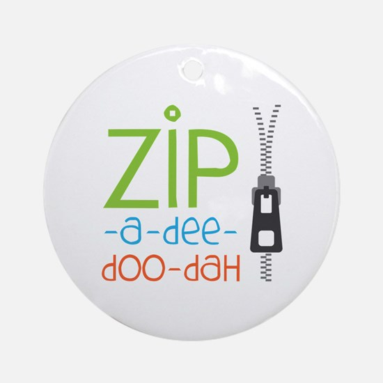 Zipper Zip Ornament (Round)