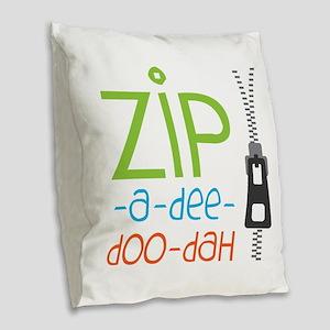 Zipper Zip Burlap Throw Pillow