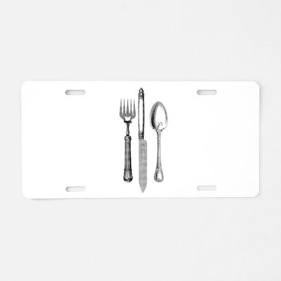 Vintage Cutlery Aluminum License Plate