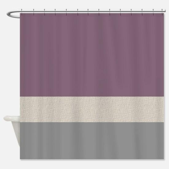 Plum Color Bands Shower Curtain