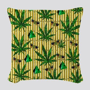 Paisley Pot Leaves On Bamboo Woven Throw Pillow