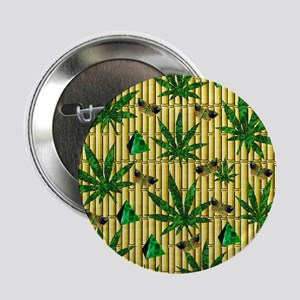 """Paisley Pot Leaves On Bamboo 2.25"""" Button"""