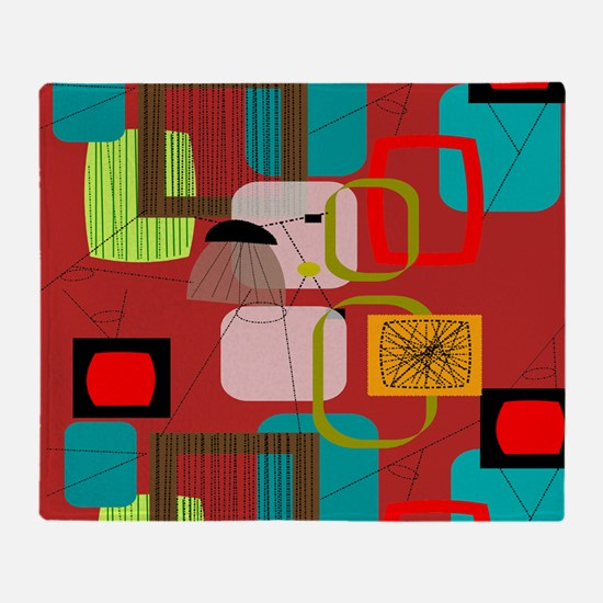 Mid-Century Modern Abstract Throw Blanket