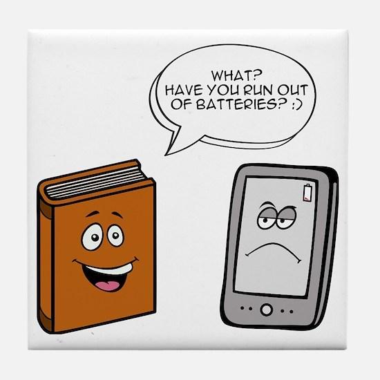 Book vs eBook Tile Coaster