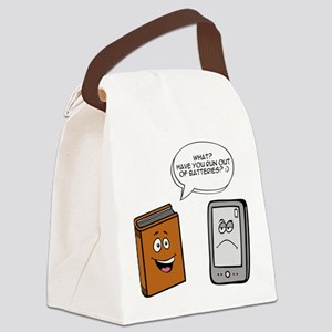 Book vs eBook Canvas Lunch Bag