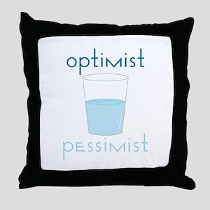 Optimist Pessimist Throw Pillow