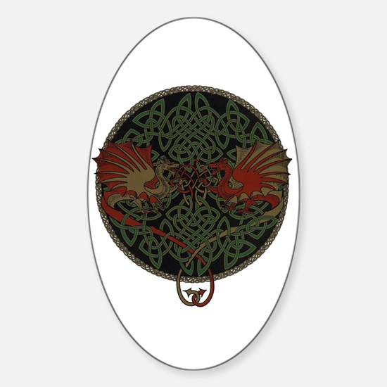 Dueling Dragons Oval Decal