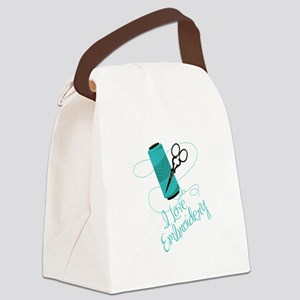 I Love Embroidery Canvas Lunch Bag