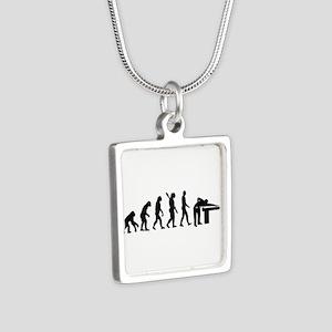 Evolution Billiards Silver Square Necklace