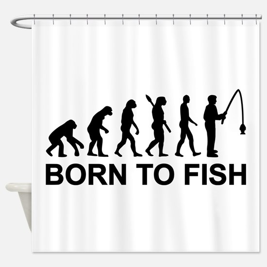 Fishing evolution born to fish Shower Curtain