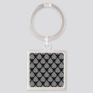 Damask black white Square Keychain