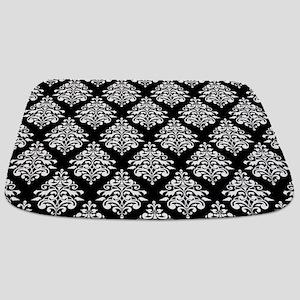 Damask black white Bathmat