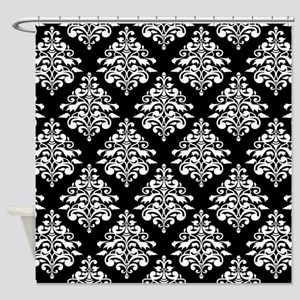 Damask black white Shower Curtain