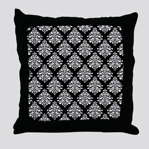 Damask black white Throw Pillow