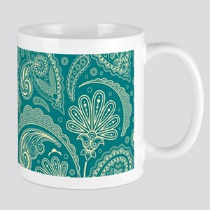 Blue-Green And Beige Creme Vintage Paisley Mugs