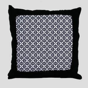 Very Dark Grayish Blue and White Patt Throw Pillow