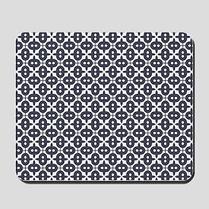 Very Dark Grayish Blue and White Pattern Mousepad