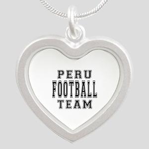 Peru Football Team Silver Heart Necklace