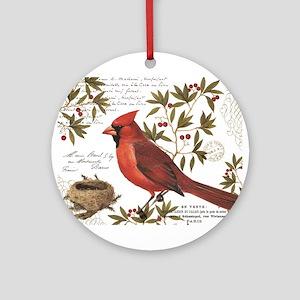 modern vintage winter woodland cardinal Ornament (
