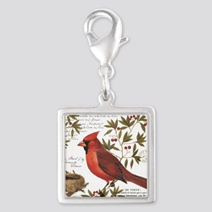 modern vintage winter woodland cardinal Charms