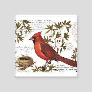 modern vintage winter woodland cardinal Sticker