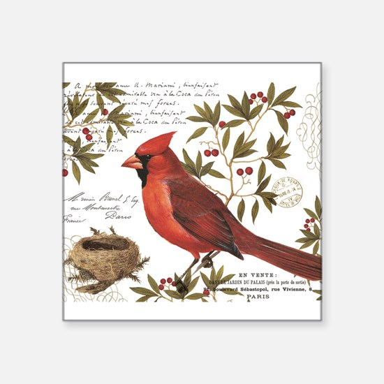 modern vintage winter woodland cardinal Sticker