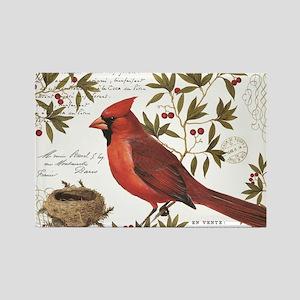 modern vintage winter woodland cardinal Magnets