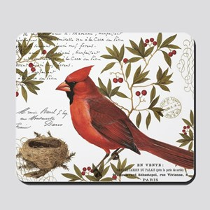 modern vintage winter woodland cardinal Mousepad