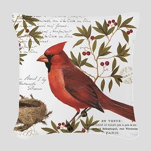 modern vintage winter woodland cardinal Woven Thro