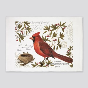modern vintage winter woodland cardinal 5'x7'Area