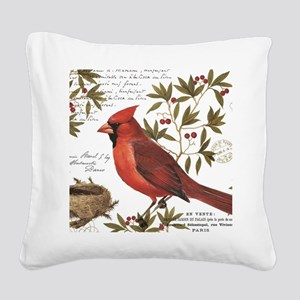 modern vintage winter woodland cardinal Square Can