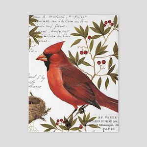 modern vintage winter woodland cardinal Twin Duvet