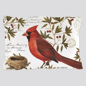 modern vintage winter woodland cardinal Pillow Cas
