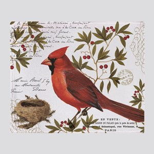 modern vintage winter woodland cardinal Throw Blan