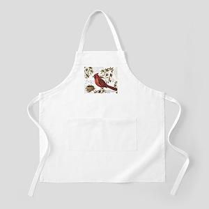 modern vintage winter woodland cardinal Apron