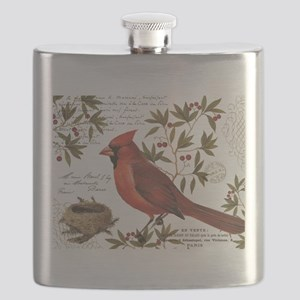 modern vintage winter woodland cardinal Flask